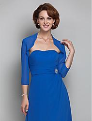 Stole da donna Coprispalle Maniche 3/4 Chiffon Royal blu Matrimonio Da sera Colletto largo 39cm Drappeggiate Aperte