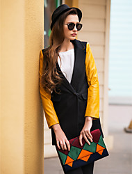 TS PU Leather Splicing Tweed Contrast Color Blazer