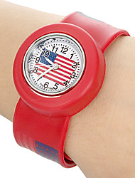 Children's US Flag Pattern Bendable Plastic Band Slap Watch (Assorted Colors) Cool Watches Unique Watches Strap Watch