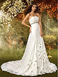 A-Line Strapless Chapel Train Chiffon Wedding Dress with Crystal Sash / Ribbon Flower Ruche by LAN TING BRIDE®