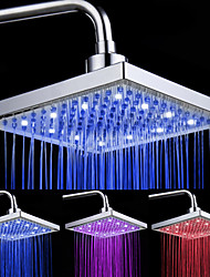 cheap -Chrome Finish Rectangular 3 Colors LED Shower Head