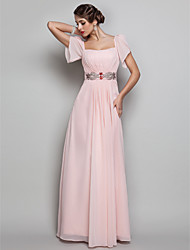 Sheath / Column Square Neck Floor Length Chiffon Prom Formal Evening Military Ball Dress with Beading Draping by TS Couture®