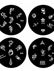 4pcs Nail Art Stamping Timbre Image de tasse Plate Série B (N ° 33-36)