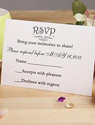 """Cartão Raso Convites de casamento 12-Cartões de resposta Estilo Floral Papel Acetinado 3 ½"""" x 5"""""""