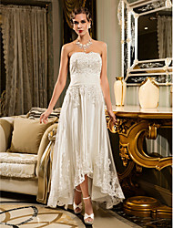 cheap -A-Line Strapless Asymmetrical Beaded Lace Custom Wedding Dresses with Appliques Button by LAN TING BRIDE®
