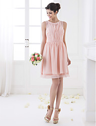 cheap -A-Line Jewel Neck Knee Length Chiffon Bridesmaid Dress with Draping Ruching by LAN TING BRIDE®