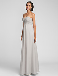 cheap -Sheath / Column Sweetheart Floor Length Chiffon Bridesmaid Dress with Beading Criss Cross Ruching by LAN TING BRIDE®