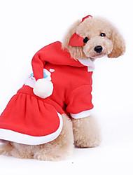 baratos -Cachorro Casacos Camisola com Capuz Roupas para Cães Vermelho Algodão Ocasiões Especiais Para animais de estimação Homens Mulheres Ano