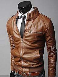 Недорогие -Мужчин Pure Color ворота стойки Pu и пиджаки
