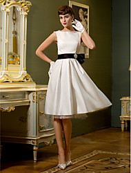 cheap -A-Line Bateau Neck Knee Length Satin Made-To-Measure Wedding Dresses with Bowknot / Sash / Ribbon by LAN TING BRIDE®