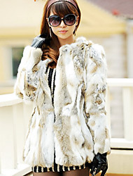 cheap -Fine Long Sleeve Collarless Rabbit Fur Party/Casual Coat(More Colors)