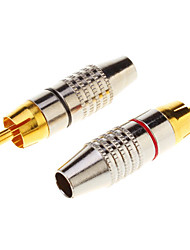 cheap -1 Pair RCA Plug Audio Cable Male Connector Gold Adapter Within the screw, free welding