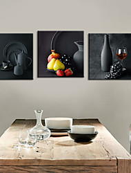 cheap -Stretched Canvas Print Art Still Life Potteries Set of 3