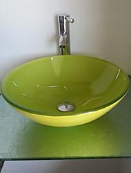 Недорогие -Ванная комната раковины установить, Зеленый нефрит закаленное раковины ванной комнаты Стекло и латунь ванной кран