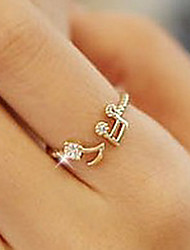 cheap -Women's Band Rings Love Adjustable Open Cute Style Rhinestone Alloy Music Notes Jewelry Party Daily Casual