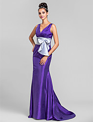 cheap -Mermaid / Trumpet V Neck Sweep / Brush Train Taffeta Bridesmaid Dress with Bow(s) Ruched Criss Cross by LAN TING BRIDE®