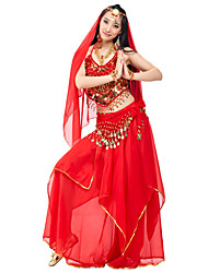 cheap -Belly Dance Outfits Women's Performance Chiffon Beading Coins Draped 4 Pieces Natural Top Skirt Headpieces Hip Scarf