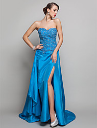 cheap -A-Line Sweetheart Neckline Sweep / Brush Train Taffeta Open Back Prom / Formal Evening Dress with Beading / Appliques / Split Front by TS Couture®