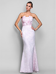 cheap -Mermaid / Trumpet Strapless Floor Length Lace Satin Evening Dress with Pearl by TS Couture®