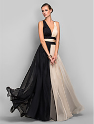 A-Line Princess V-neck Floor Length Chiffon Formal Evening Military Ball Dress with Draping Ruching Split Front by TS Couture®