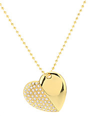 cheap -Heart Shape Gold with Chain Flash Drive 8G