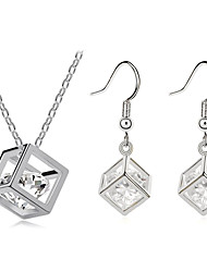 cheap -Cubic Zirconia Jewelry Set - Cubic Zirconia, Silver Plated Include Silver For Party Daily / Earrings / Necklace