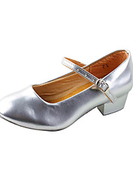 "Women's Kids' Modern Ballroom Practice Shoes Leatherette Heel Chunky Heel Silver Silver 1"" - 1 3/4"" Non Customizable"