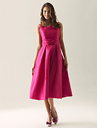cheap -A-Line Princess Straps Tea Length Taffeta Bridesmaid Dress with Bow(s) Draping by LAN TING BRIDE®