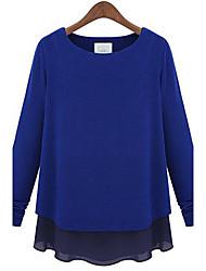 Blusa Da donna Casual Semplice Per tutte le stagioni,Collage Rotonda Blu / Nero / Grigio Manica lunga Sottile / Medio spessore