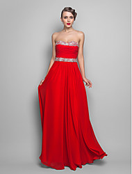 cheap -A-Line Princess Strapless Sweetheart Floor Length Chiffon Prom Dress with Beading by TS Couture®
