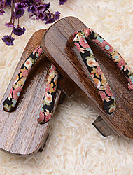 cheap -Lolita Shoes Wa Lolita Lolita Platform Shoes Floral 3 CM Brown For Wood Cotton