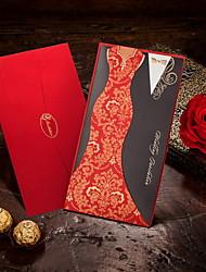 billige -Folde og Pakke Bryllupsinvitationer Invitationskort Brud & Brudgom Stil Kort Papir 8.5*4.5 tommer (ca. 21.5*11.5cm)