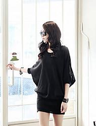 Loose Bat Sleeve Zipper Arm Package Dress(Black)