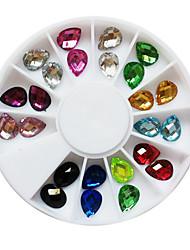 24PCS 12-Color Glitter gota de água em forma de prego Rhinestones Art Decorações