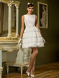 cheap -A-Line Bateau Neck Short / Mini Taffeta Custom Wedding Dresses with Sash / Ribbon Button by LAN TING BRIDE®