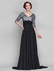 Linha A Decote V Cauda Escova Chiffon Renda Vestido Para Mãe dos Noivos - Flor(es) Renda Franzido de LAN TING BRIDE®