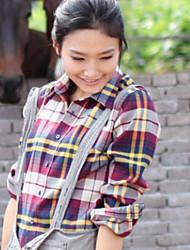 Meiyishen Women's Red And Yellow Random Check Blouse