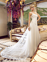 cheap -A-Line Off Shoulder Floor Length Tulle Custom Wedding Dresses with Beading Appliques Criss-Cross by LAN TING BRIDE®