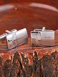 cheap -Personalized Gift Rectangle Silver Metal Engraved Cufflink