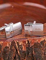 Недорогие -Персональный подарок Прямоугольник серебристого металла с гравировкой запонки