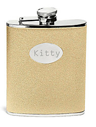 cheap -Personalized Father's Day Gift Gold Splash 8oz PU Leather  Flask