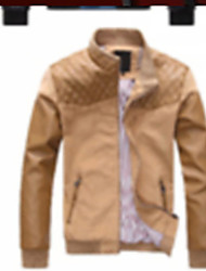 cheap -Men's Chic & Modern Leather Jacket-Solid Colored