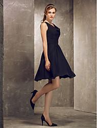 cheap -A-Line Princess Cowl Neck Straps Knee Length Chiffon Bridesmaid Dress with Crystal Detailing Draping Sash / Ribbon by LAN TING BRIDE®