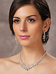 povoljno -lijepo češki dijamanata legure presvučenog vjenčanja svadbeni nakit set, uključujući i ogrlicu i naušnice