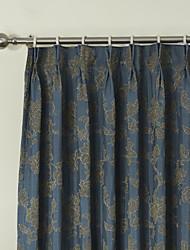 baratos -país dois painéis botânica floral azul quarto cortinas de painel de poliéster cortinas