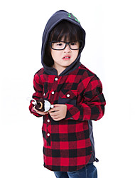 cheap -CF1992 Kid's Check Pattern Long Sleeve Shoodie Shirt(Red)