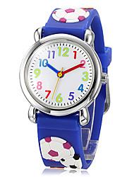 Недорогие -Детская 3D мультфильм Футбол Pattern силиконовой лентой Маленький круглый циферблат Кварцевые аналоговые наручные часы