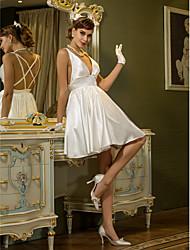Trapèze Encolure plongeante Courte / Mini Satin Elastique Robe de mariée avec Drapée par LAN TING BRIDE®