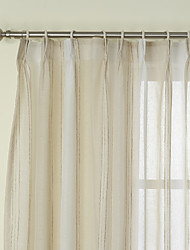 Due pannelli Trattamento finestra Neoclassicismo , Strisce Camera da letto Lino Materiale Sheer Curtains Shades Decorazioni per la casa