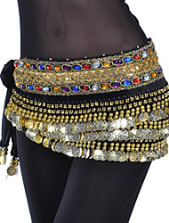 cheap -Belly Dance Belt Women's Training Polyester Beading Coin Crystals/Rhinestones